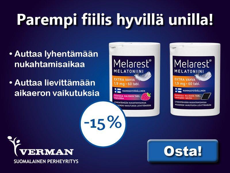 Melarest 1,9 mg mansikka ja salmiakki heinäkuun tarjous