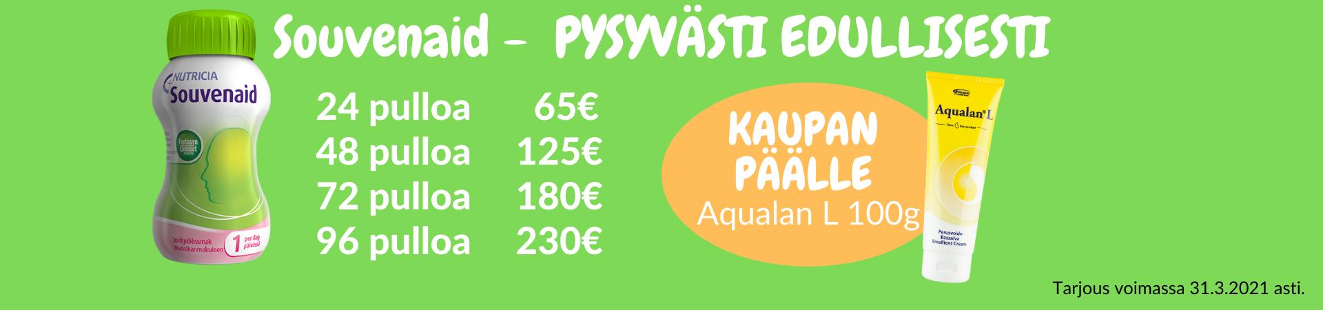Souvenaid - pysyvästi edullinen hinta. Kaupan päälle Aqualan L 100g!