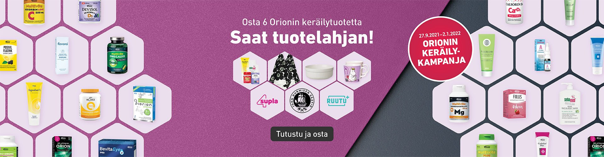 Orionin keräilykampanja lahja kuuden tuotteen ostajalle