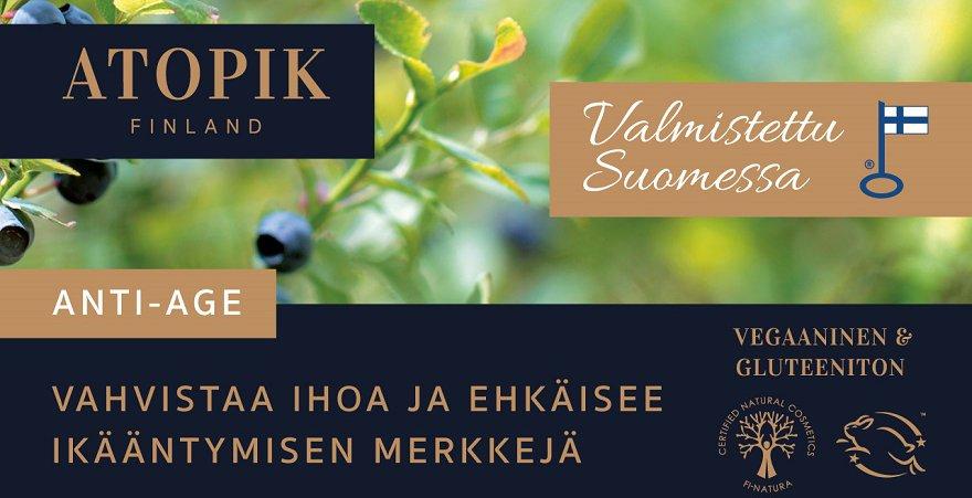 Suomalaista luonnonkosmetiikkaa herkälle iholle, vegaaninen.