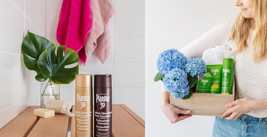 Hiustenlähtöön, hennoille ja värjätyille hiuksille. Sävyttävä shampoo ja hoitoaine.