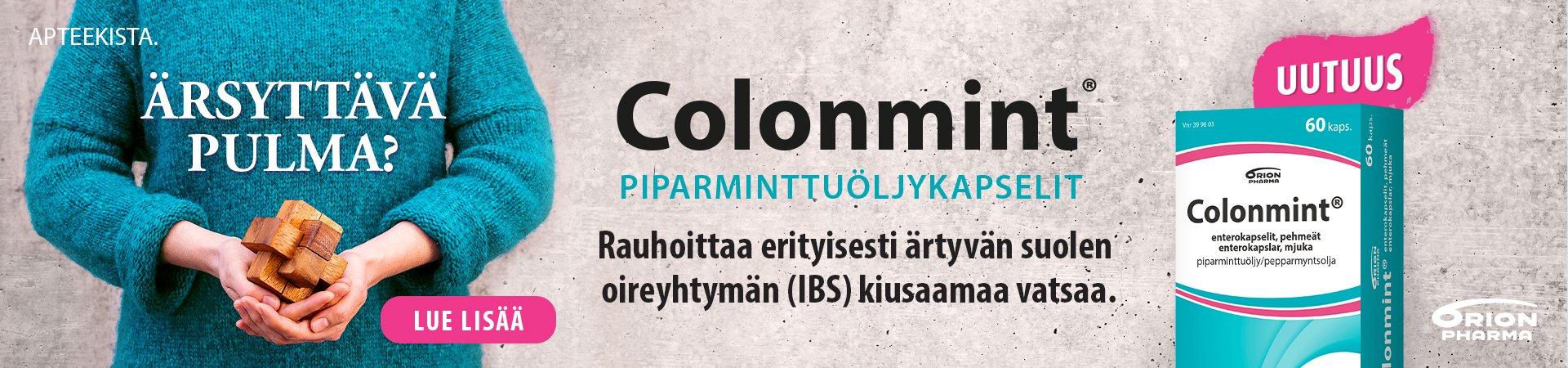 Colonmint piparminttuöljykapselit ärtyvän suolen oireyhtymä IBS