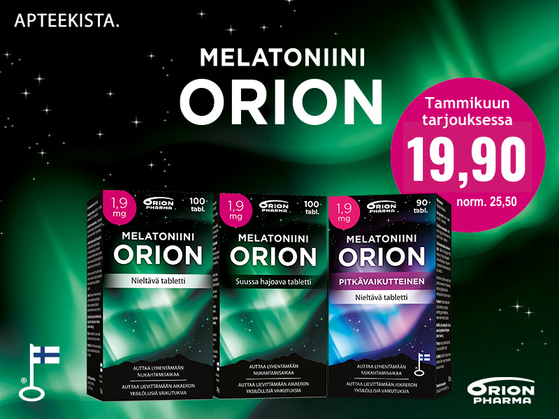 Melatoniini orion 1,9 mg tarjous