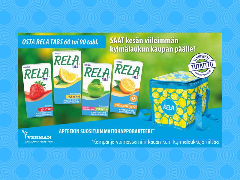 Osta Relatabs maitohappobakteeri, saat kaupanpäälle viileimmän kylmälaukun!