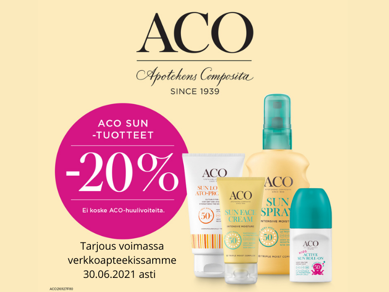 Aco Sun aurinkotuotteet -20% tarjouksessa kesäkuun ajan