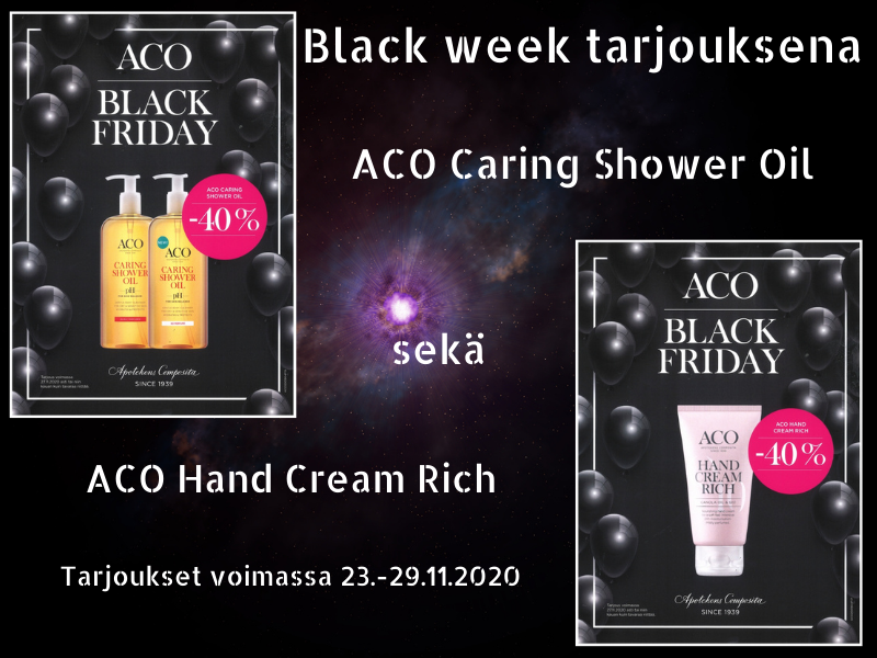 Black week tarjous, Aco body oil ja Aco body hand cream rich