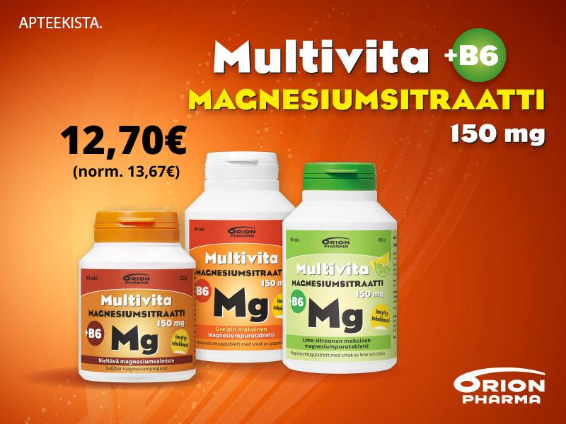 Multivita Magnesiumsitraatti + B6 3 joulukuun tarjous 90 tabl 12,70€