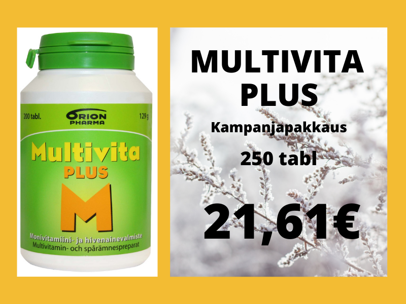 Multivita Plus tarjous kampanjapakkaus 250 tabl 200 tabl hinnalla edullinen halpa