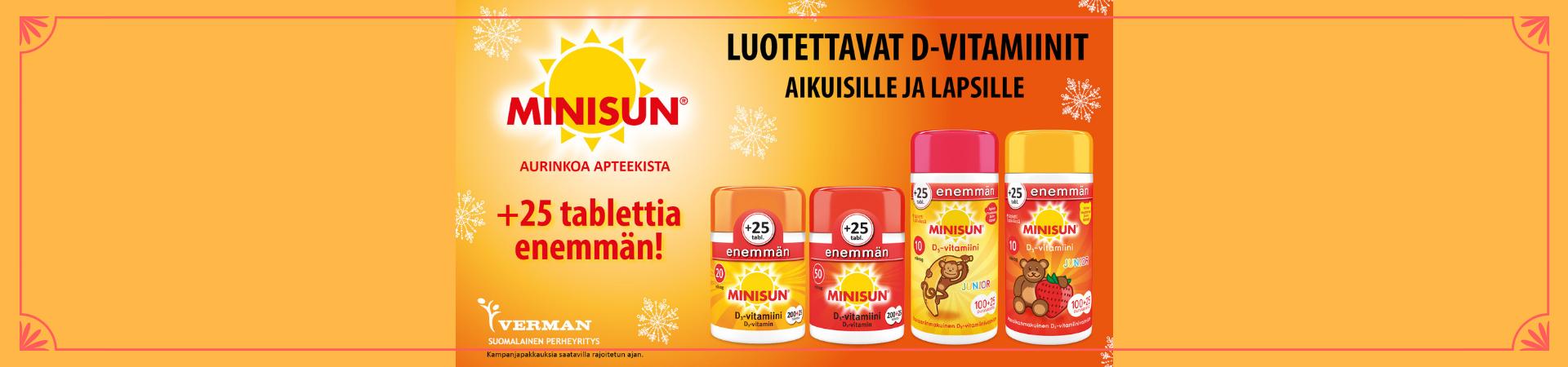 Minisun D-vitamiini kampanjapakkaus tarjous