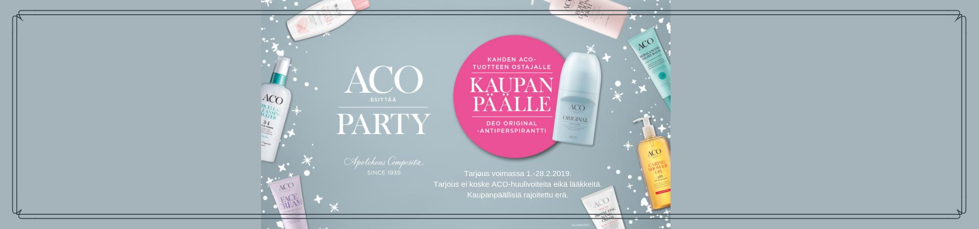 Aco Party -kampanja kahden tuotteen ostajalle kaupan päälle Deo Original -antiperspirantti