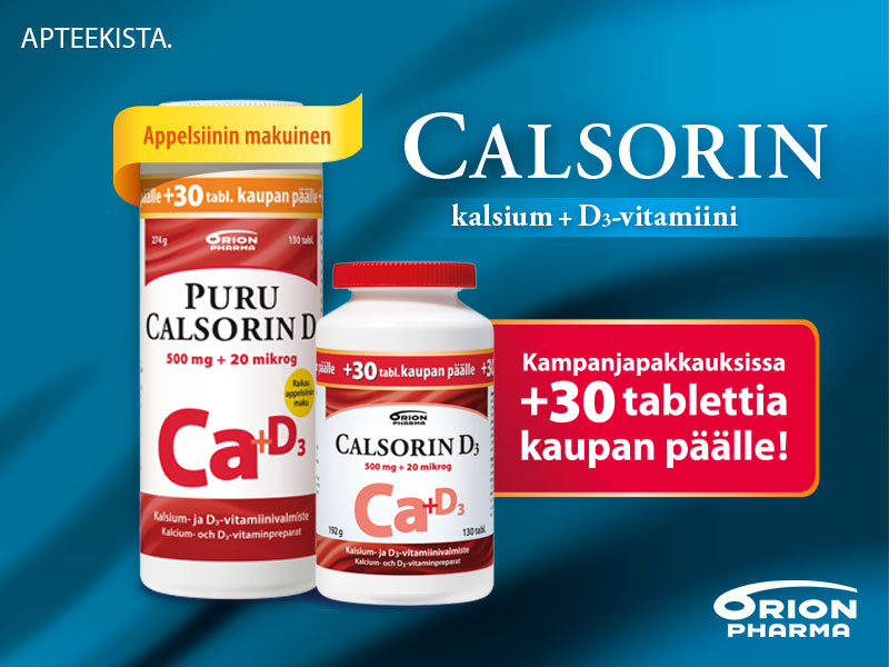 Calsorin kampanjapakkaus + 30 tabl kaupan päälle
