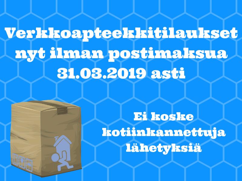 Ilmainen toimitus verkkoapteekkitilauksille maaliskuun ajan, 31.03.2019 asti