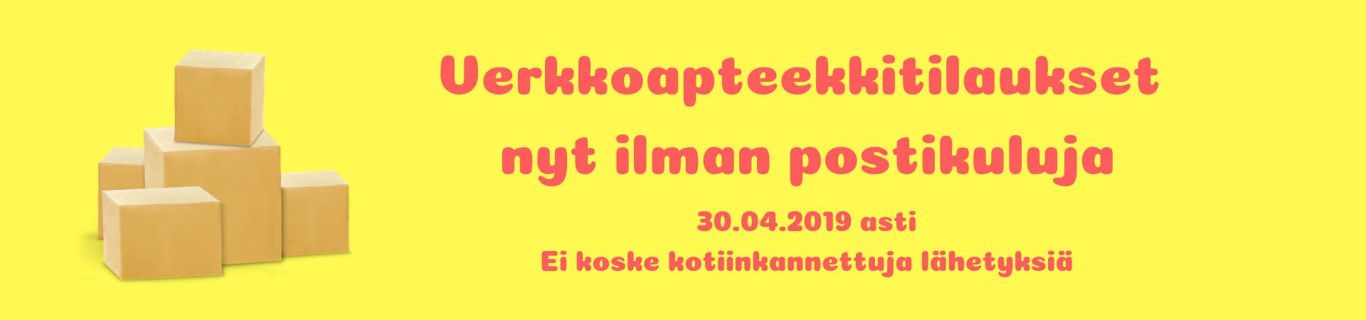 Verkkoapteekki ilmainen toimitus huhtikuun 2019 ajan, 30.04.2019 asti