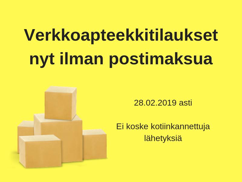 ilmainen toimitusmaksu verkkoapteekkitilauksille helmikuun 2019 ajan
