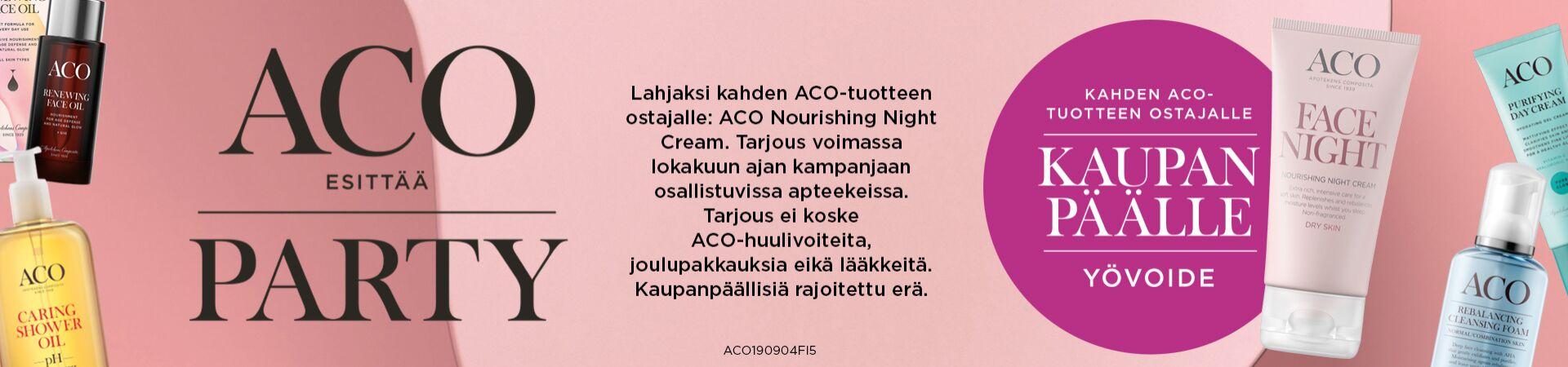 2 Aco tuotteen ostajalle Aco Face night kaupan päälle