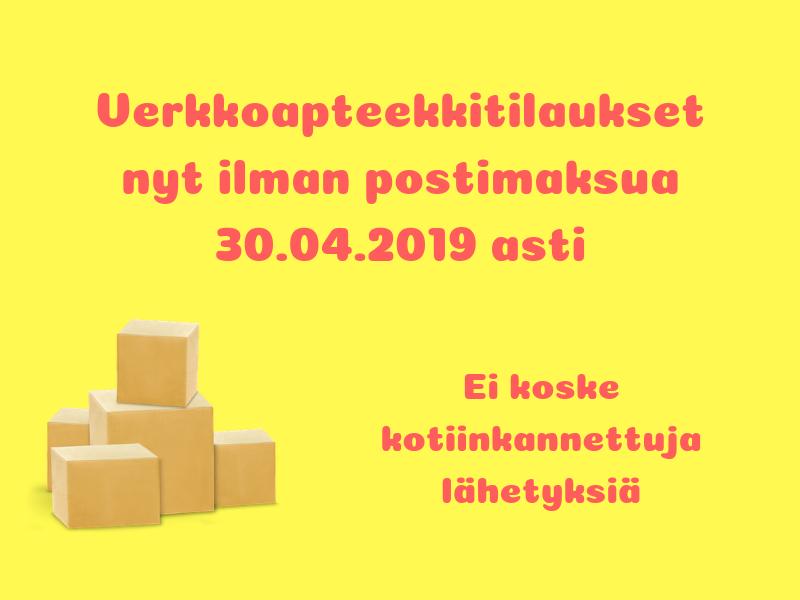 Ilmainen toimitus huhtikuun 2019 ajan, 30.04.2019 asti