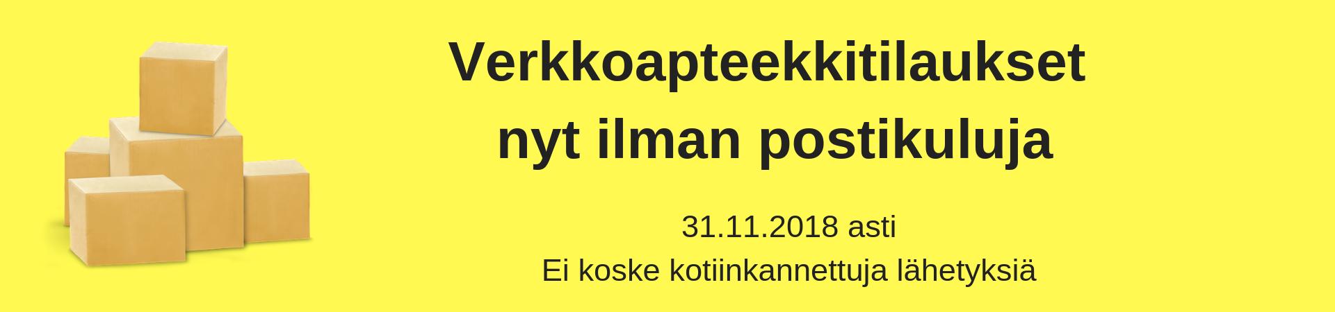 Verkkoapteekin ilmainen toimitus marraskuun loppuun 30.11.2018 asti