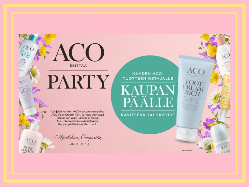 Toukokuun kampanjatarjous, kahden Aco tuotteen ostajalle kaupanpäälle jalkavoide
