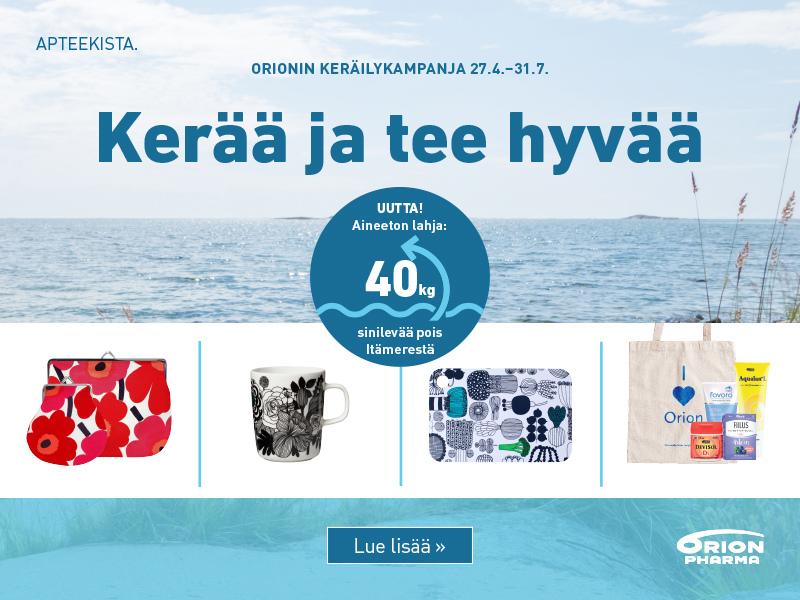 orionin keräilykampanja kevät kesä 2020 tuotelahjat verkkoapteekki