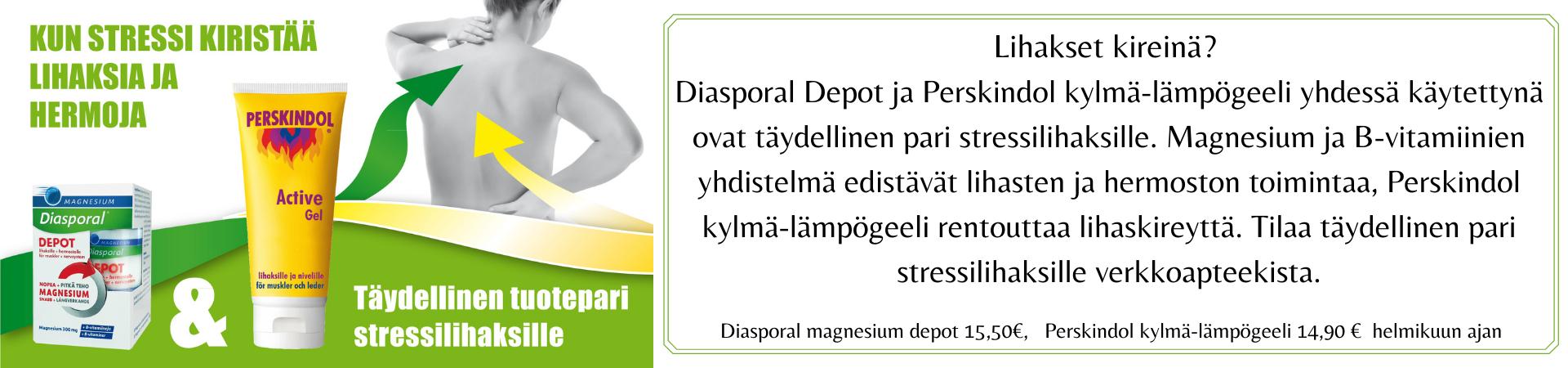 Perskindol, Diasporal, Stressilihaskampanja, lihaskrampit, magnesium, kylmä-lämpögeeli, tarjous