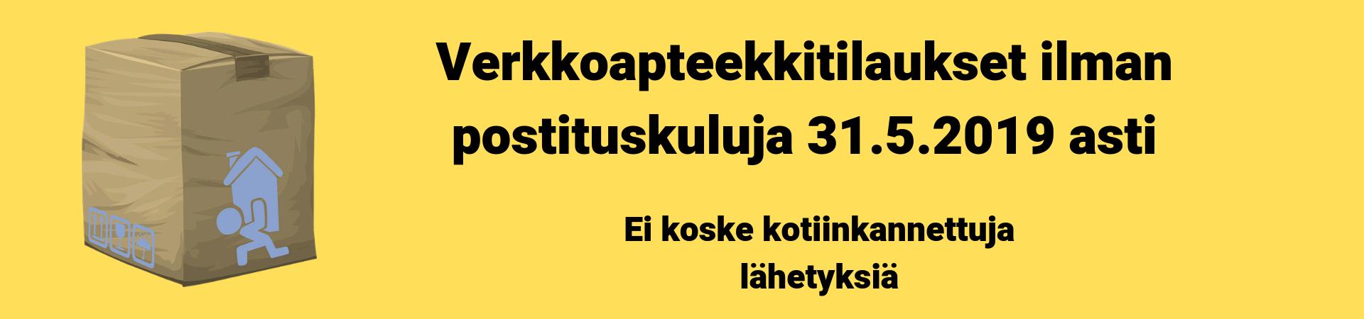 Verkkoapteekkitilaukset ilman toimitusmaksua toukokuun ajan 31.5.2019 asti ilman toimitusmaksua