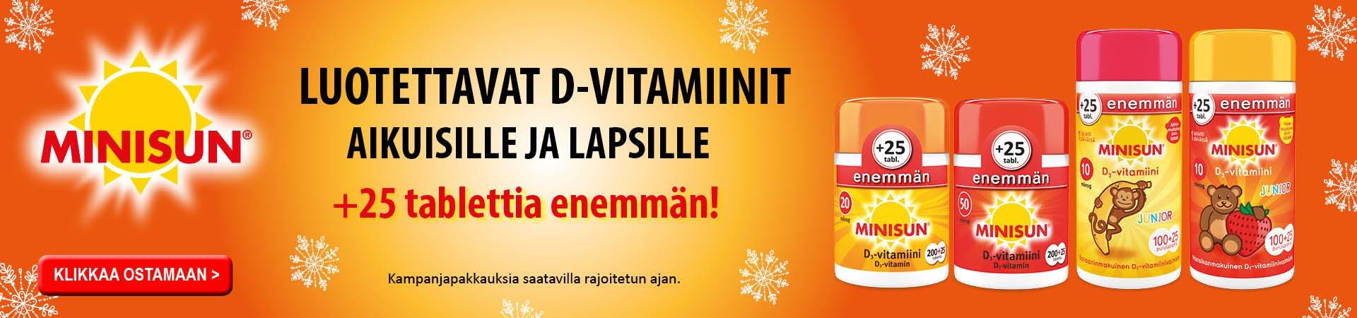 Minisun D-vitamiini bonuspakkaukset