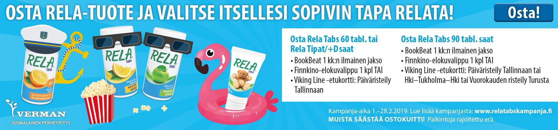 Osta Rela saat Viking Line, Bookbet tai Finnkino lahjakortin