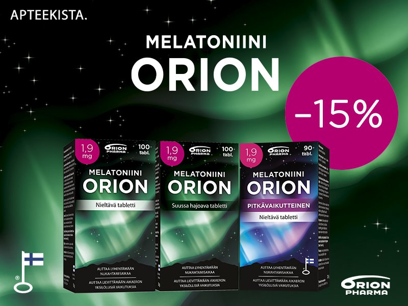 Melatoniini Orion 1,9 mg -15 % -Kampanja