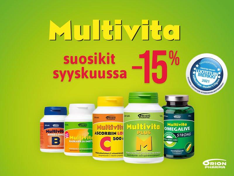 Multivita tuotteet -15% tarjoushintaan