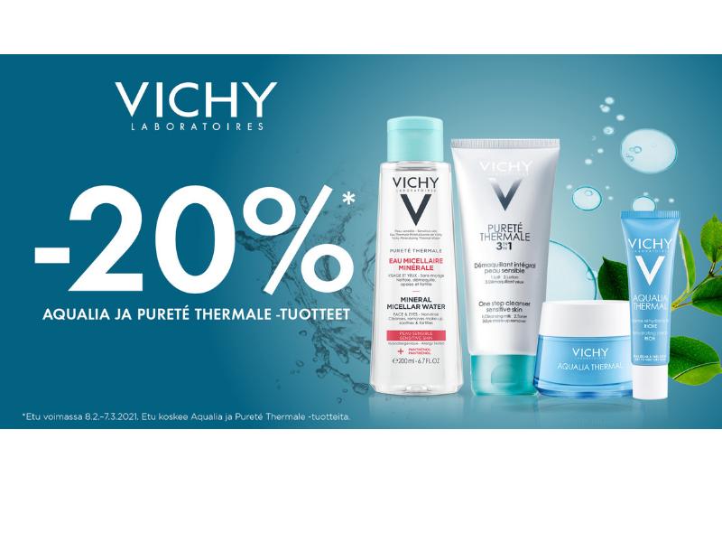 Vichy Aqualia ja Purete Thermale puhdistustuotteet -15%