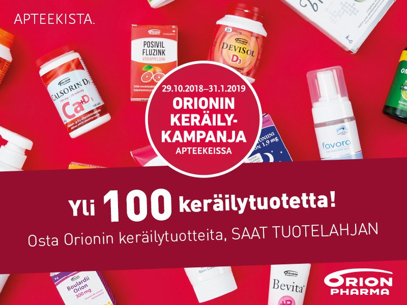 orion keräilykampanja apteekki verkkoapteekki