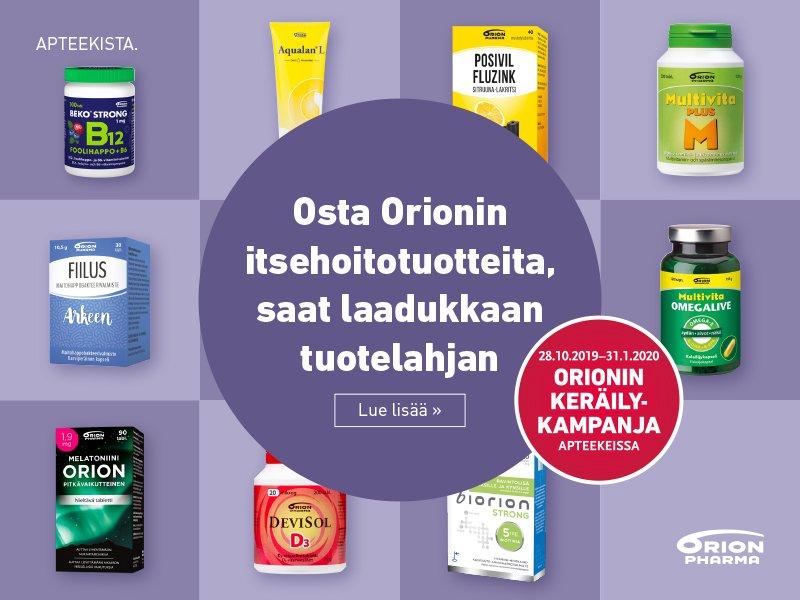 orion keräilykampanja apteekki verkkoapteekki kauppakeskus kaari