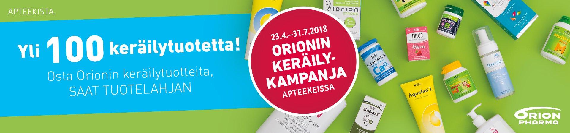 Orionin keräilykampanjassa yli 100 tuotetta