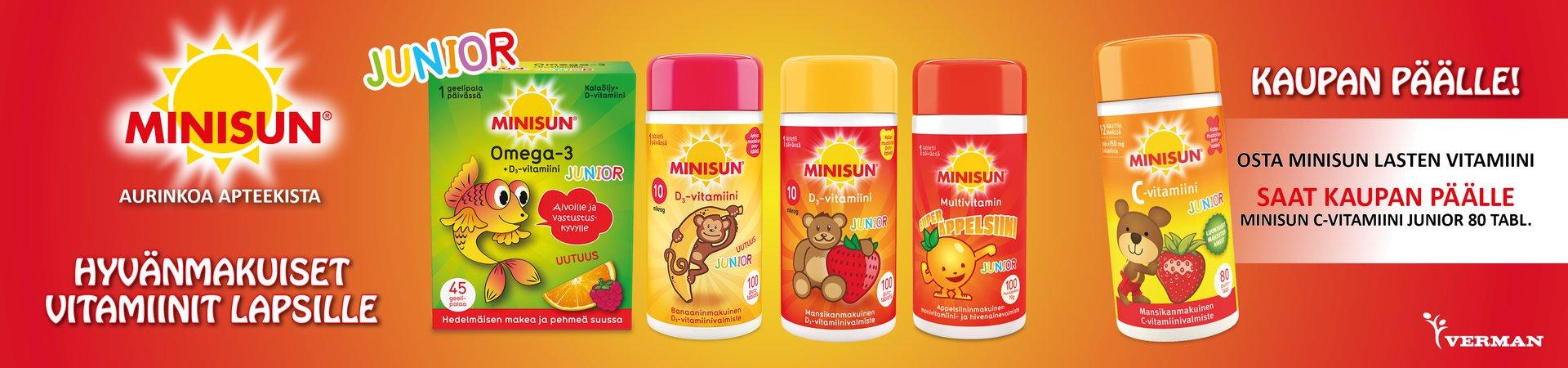 Minisun lasten vitaamiinin ostajalla C-vitamiini kaupan päälle