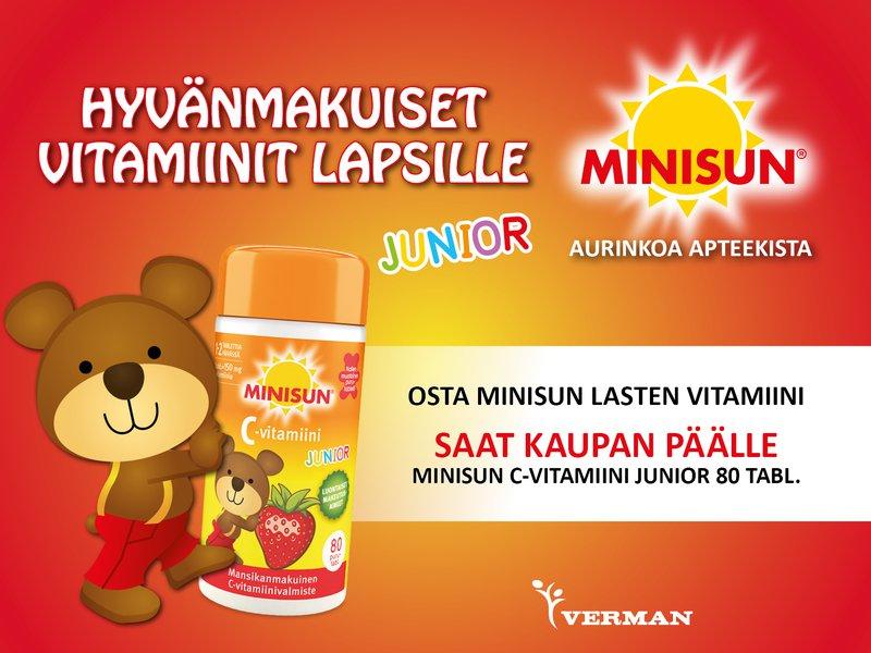 Minisun lasten vitamiinin ostajalle c-vitamiini kaupan päälle