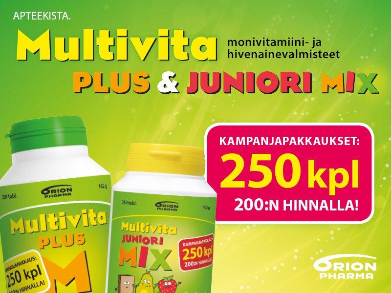 Multivita kampanjapakkaukset edullisesti osoitteesta apteekkisiverkossa.fi