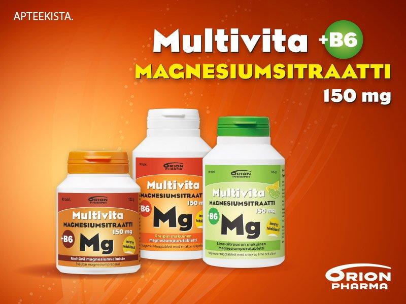 Hyvin imeytyvä Multivita magnesiumsitraatti - puru tai nieltävä