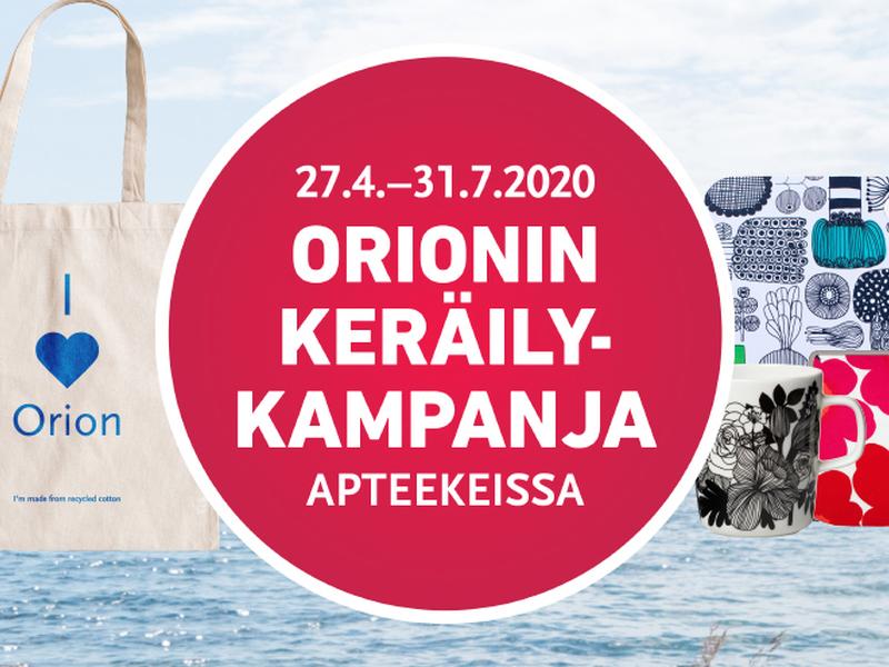 Orionin keräilykampanja käynnissä 31.7.2020 saakka!