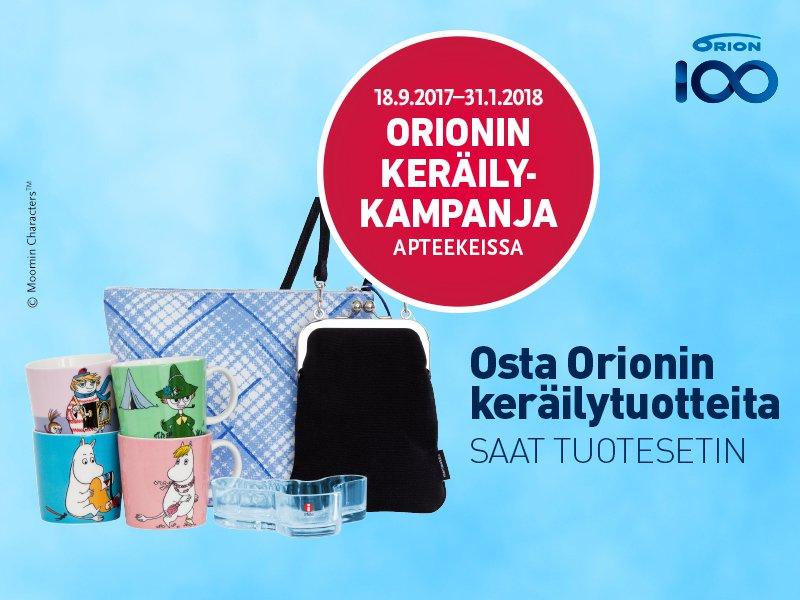 Orion keräilykampanja muumi iittala marimekko