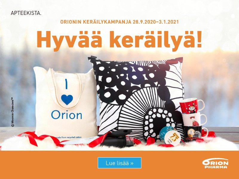Orionin keräilykampanja käynnissä 3.1.2021 saakka!
